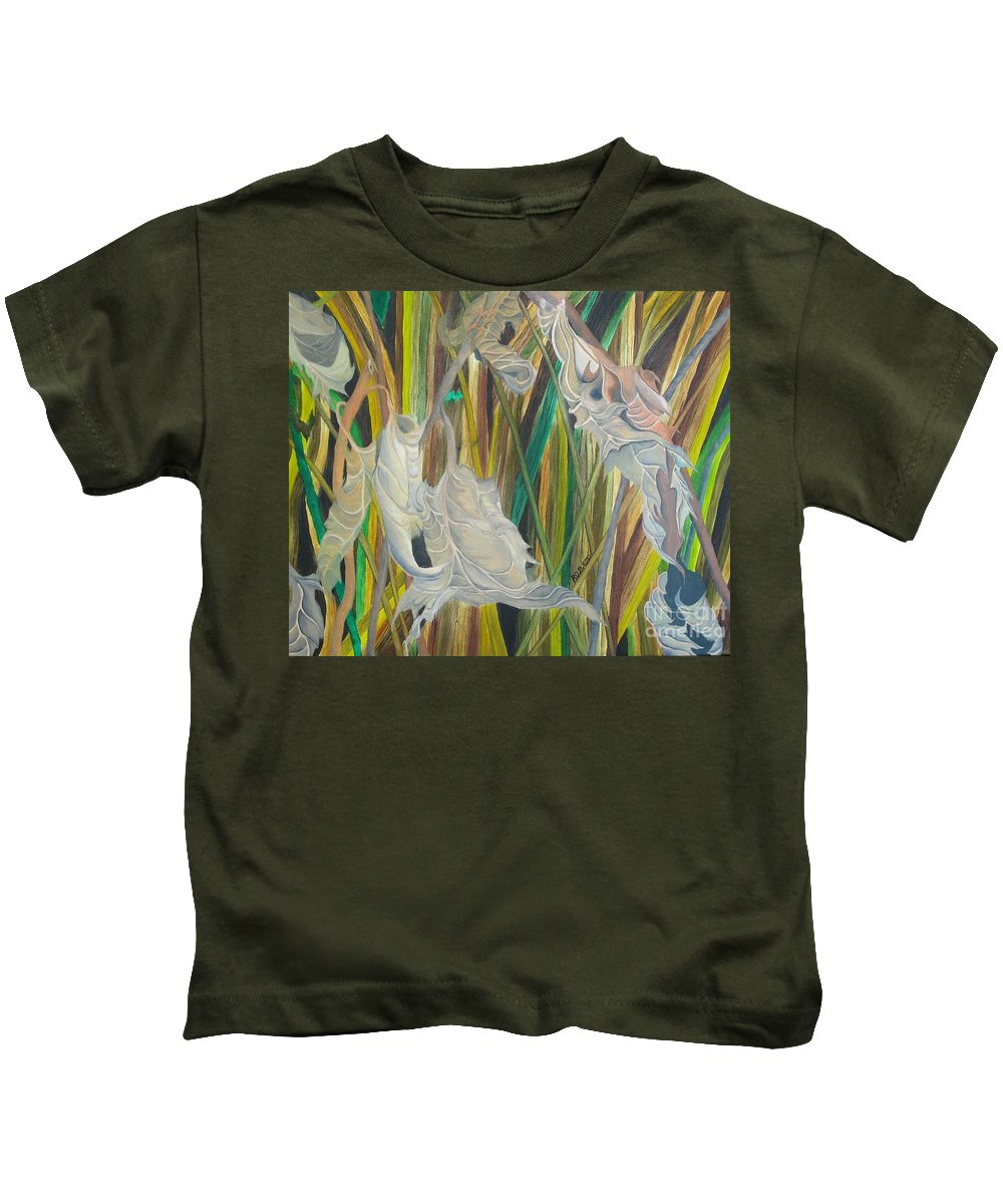 Kids T-Shirt featuring the painting Fall Leafs Won by Richard Dotson