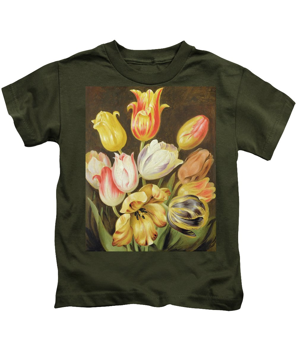 Blumenstuck Kids T-Shirt featuring the painting Flower Study by Johann Friedrich August Tischbein