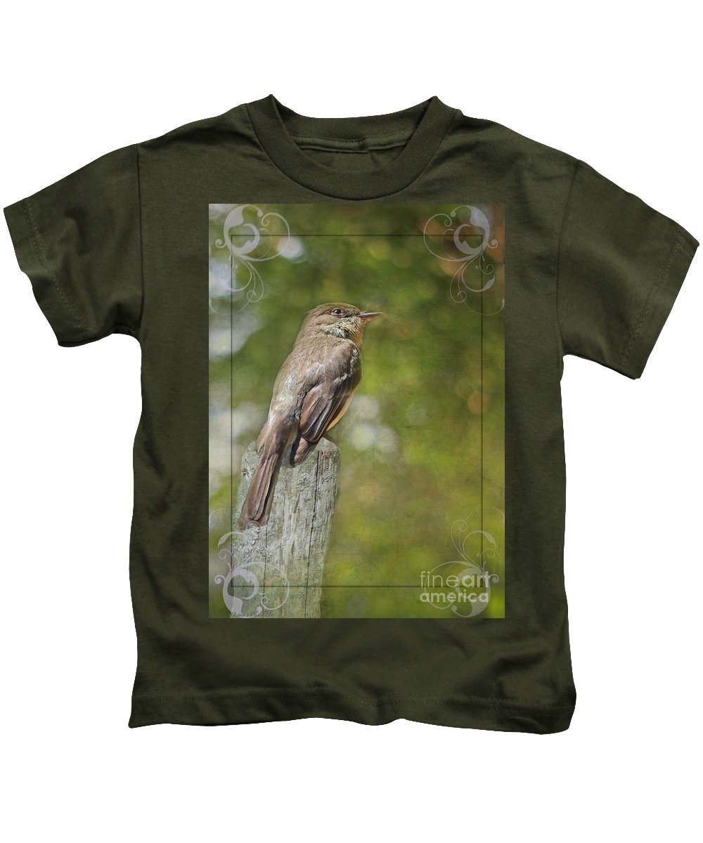 Nature Kids T-Shirt featuring the photograph Flycatcher In Southern Missouri by Debbie Portwood