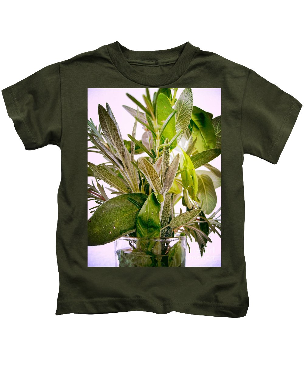 Rosemary Kids T-Shirt featuring the photograph Fresh Herbs by Nina Ficur Feenan