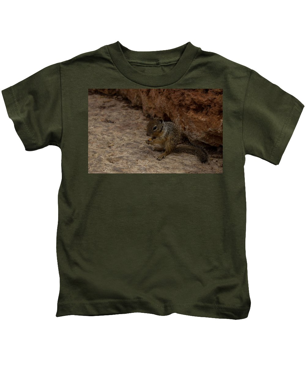 Squirrel Kids T-Shirt featuring the photograph Hungry Squirrel by Kathleen Odenthal