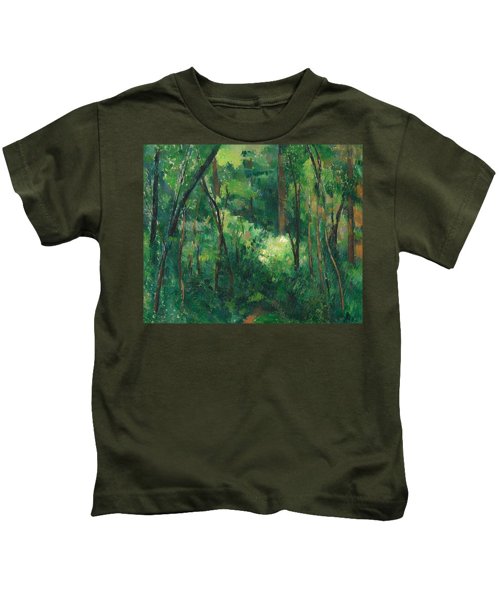 Painting Kids T-Shirt featuring the painting Interior Of A Forest by Mountain Dreams