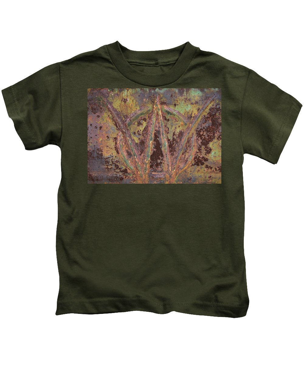 Jeep Kids T-Shirt featuring the photograph Jeep Willys Pickup Truck W Logo Symbol by Kathy Clark