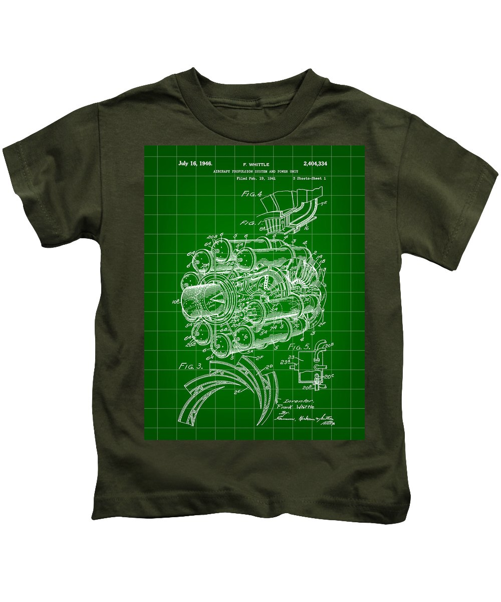 Jet Kids T-Shirt featuring the digital art Jet Engine Patent 1941 - Green by Stephen Younts