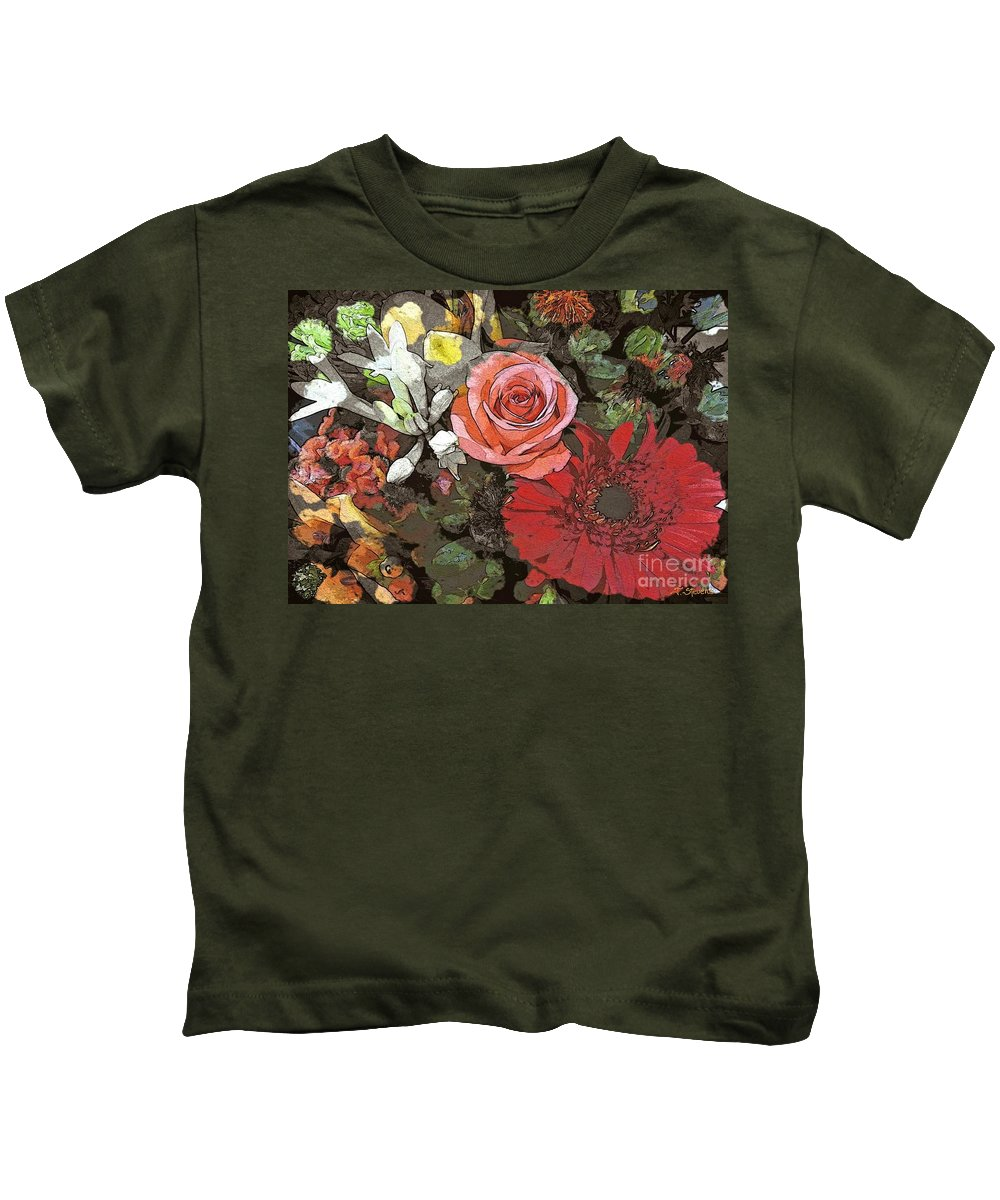 Flower Art Kids T-Shirt featuring the digital art Lancaster Flowers by Joseph J Stevens