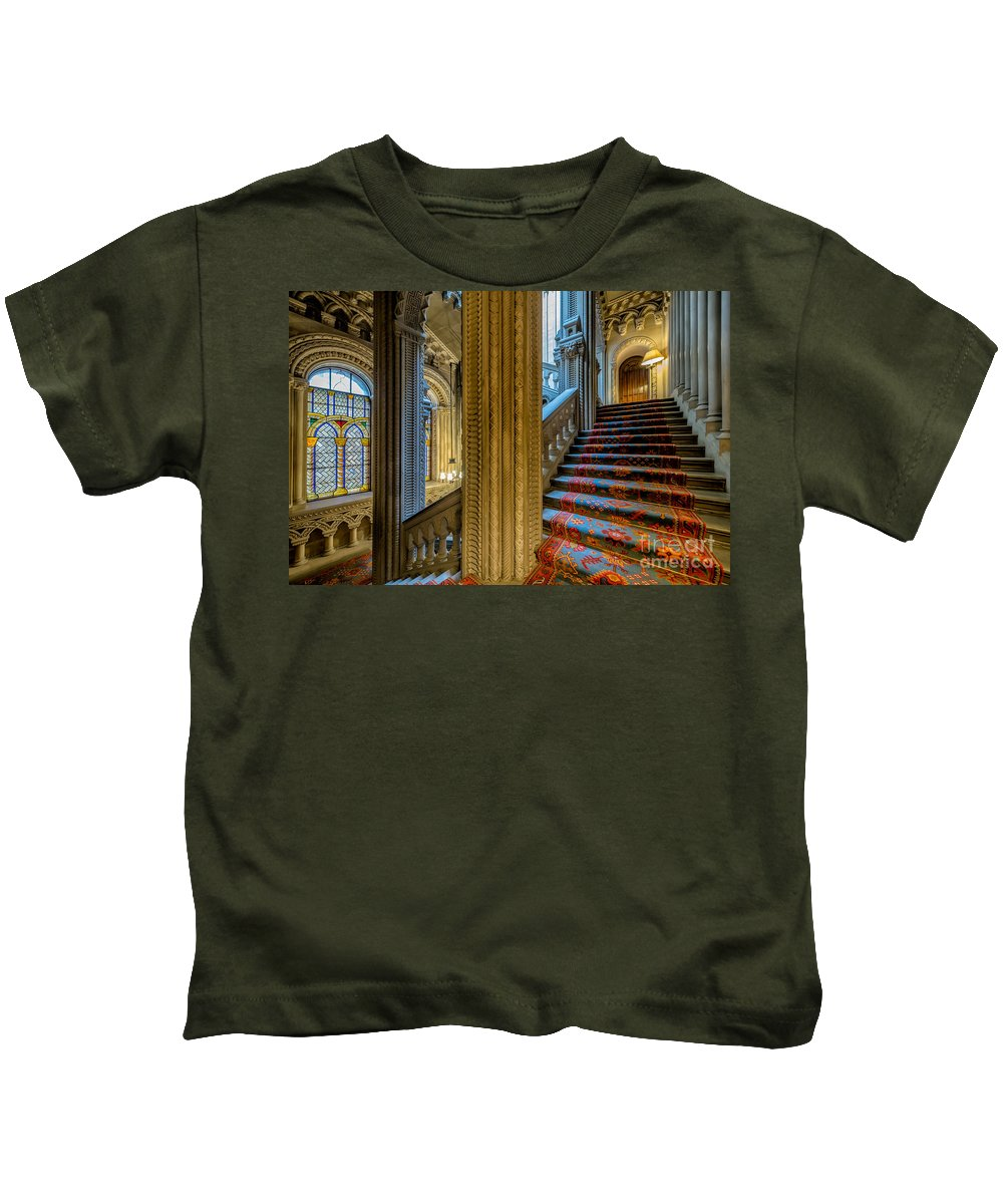 British Kids T-Shirt featuring the photograph Mansion Stairway by Adrian Evans