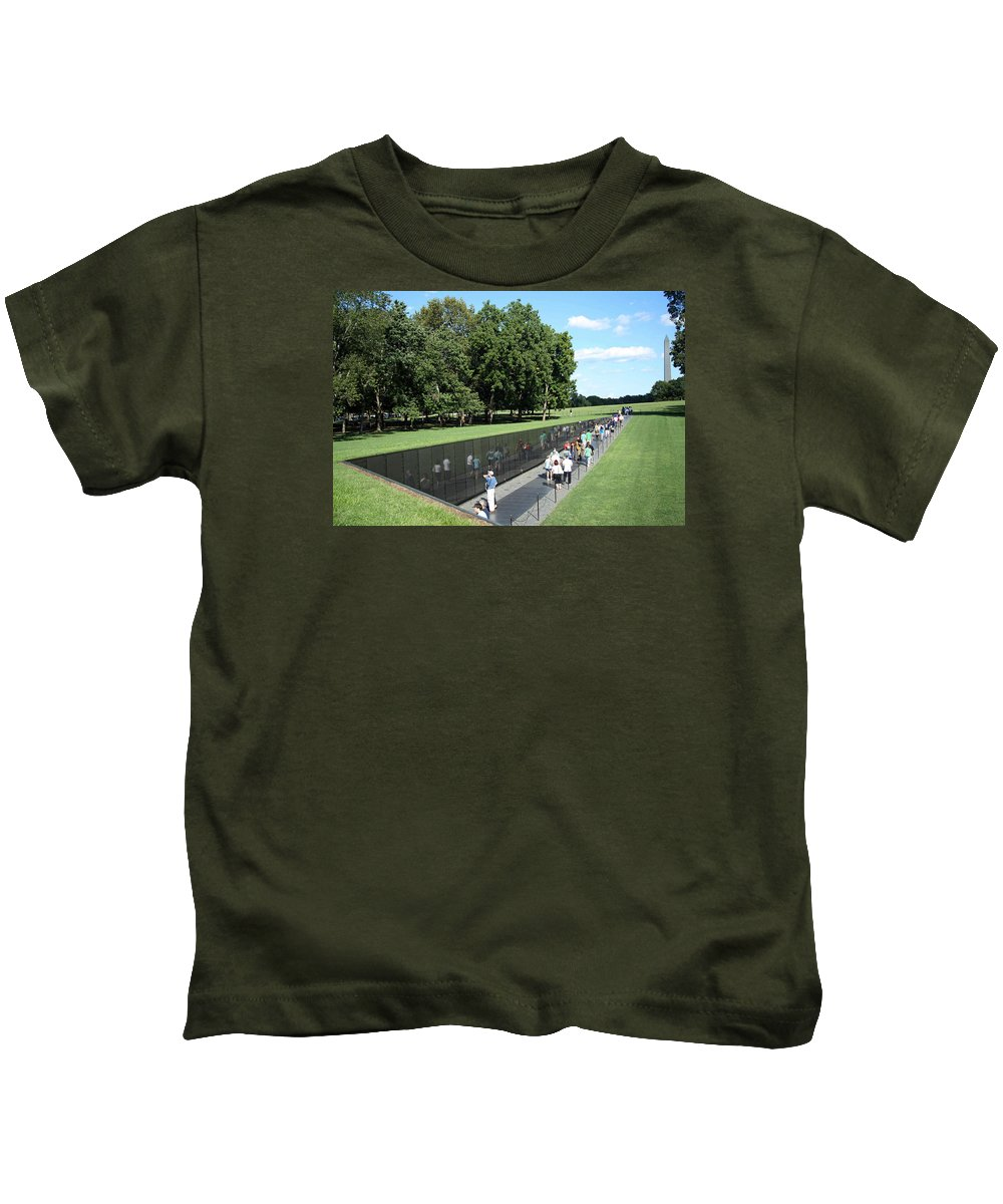 Vietnam Kids T-Shirt featuring the photograph People At The Wall by Cora Wandel