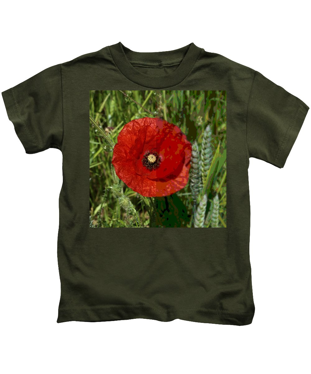 Kids T-Shirt featuring the photograph Poppy by Ron Harpham