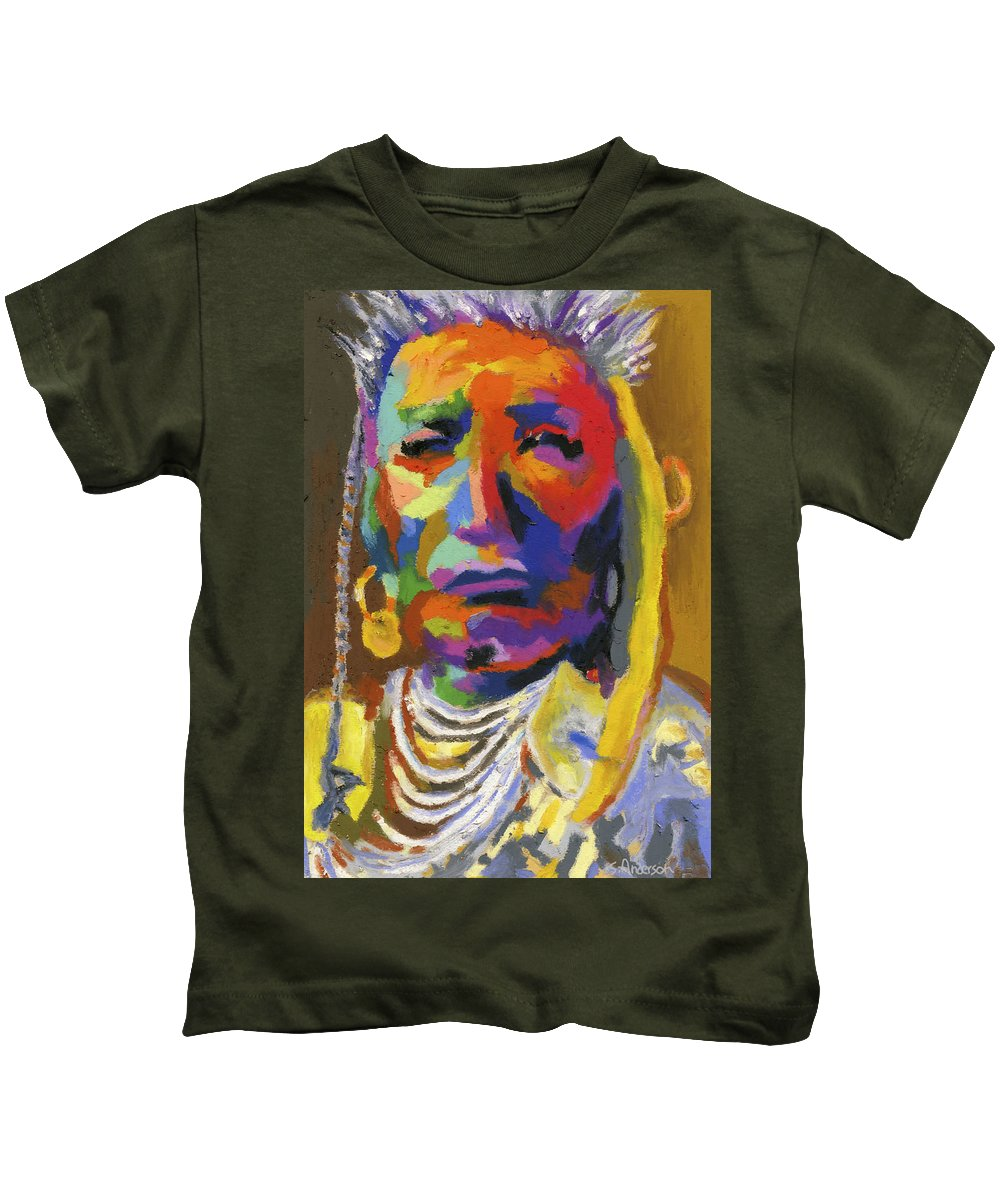 Indian Kids T-Shirt featuring the painting Proud Native American II by Stephen Anderson