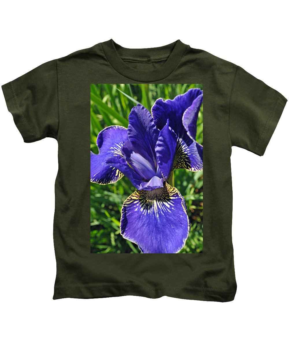 Flower Kids T-Shirt featuring the photograph Purple Iris by Tikvah's Hope
