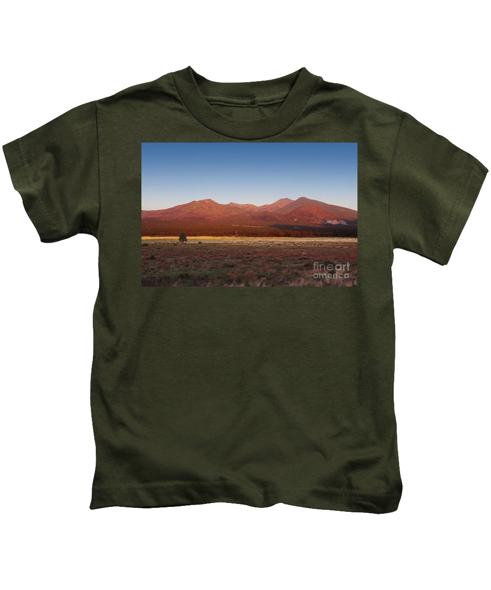 Rock Kids T-Shirt featuring the photograph San Francisco Peaks Sunrise by Jemmy Archer