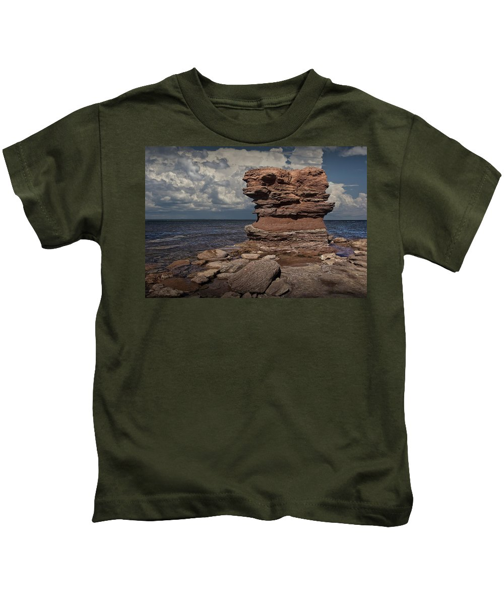 Art Kids T-Shirt featuring the photograph Sea Stack At North Cape On Prince Edward Island by Randall Nyhof
