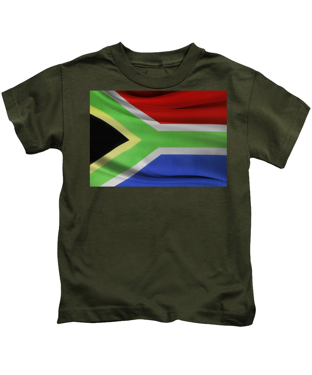 Flag Kids T-Shirt featuring the photograph South African Flag by Les Cunliffe