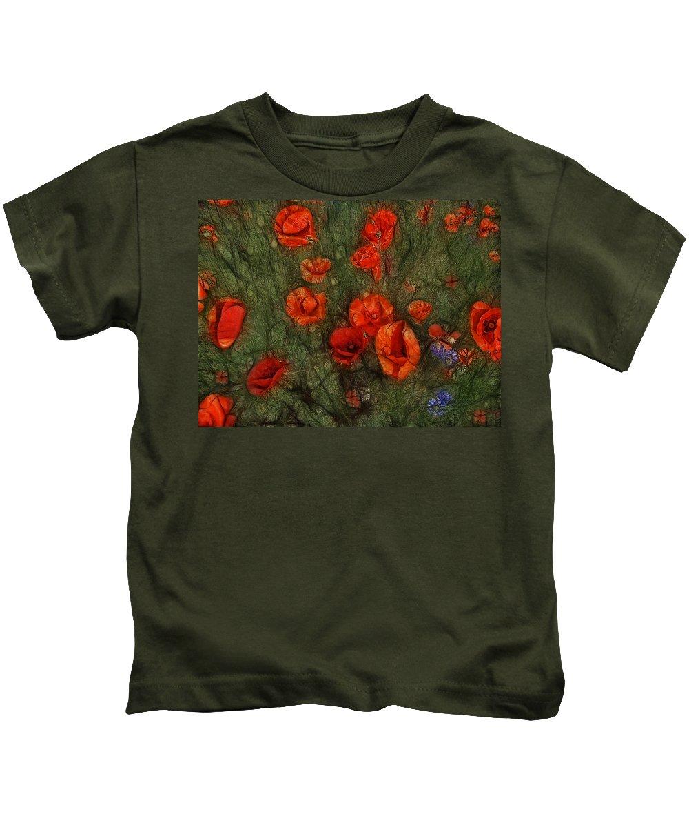 Corn Poppy Kids T-Shirt featuring the photograph Summer Wind by Joachim G Pinkawa