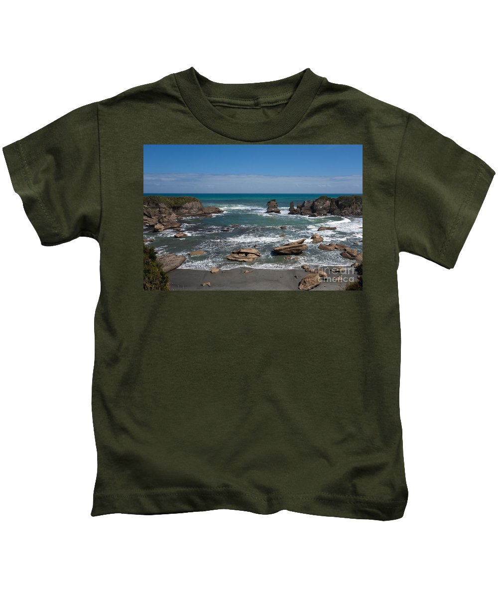 South Island Kids T-Shirt featuring the photograph Tasman Sea At West Coast Of South Island Of Nz by Stephan Pietzko
