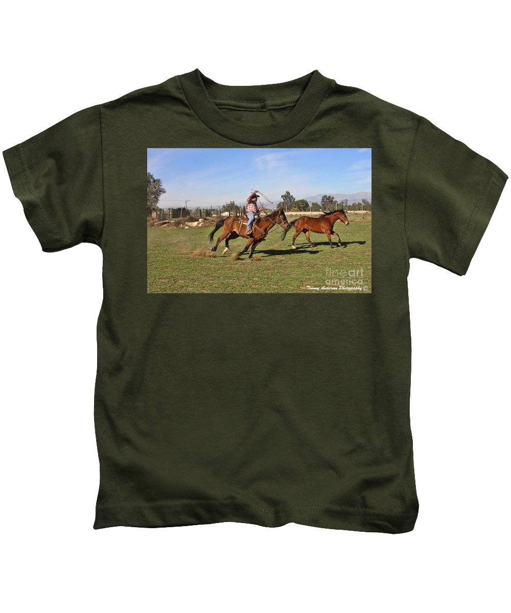 Horses Kids T-Shirt featuring the photograph The Chase by Tommy Anderson