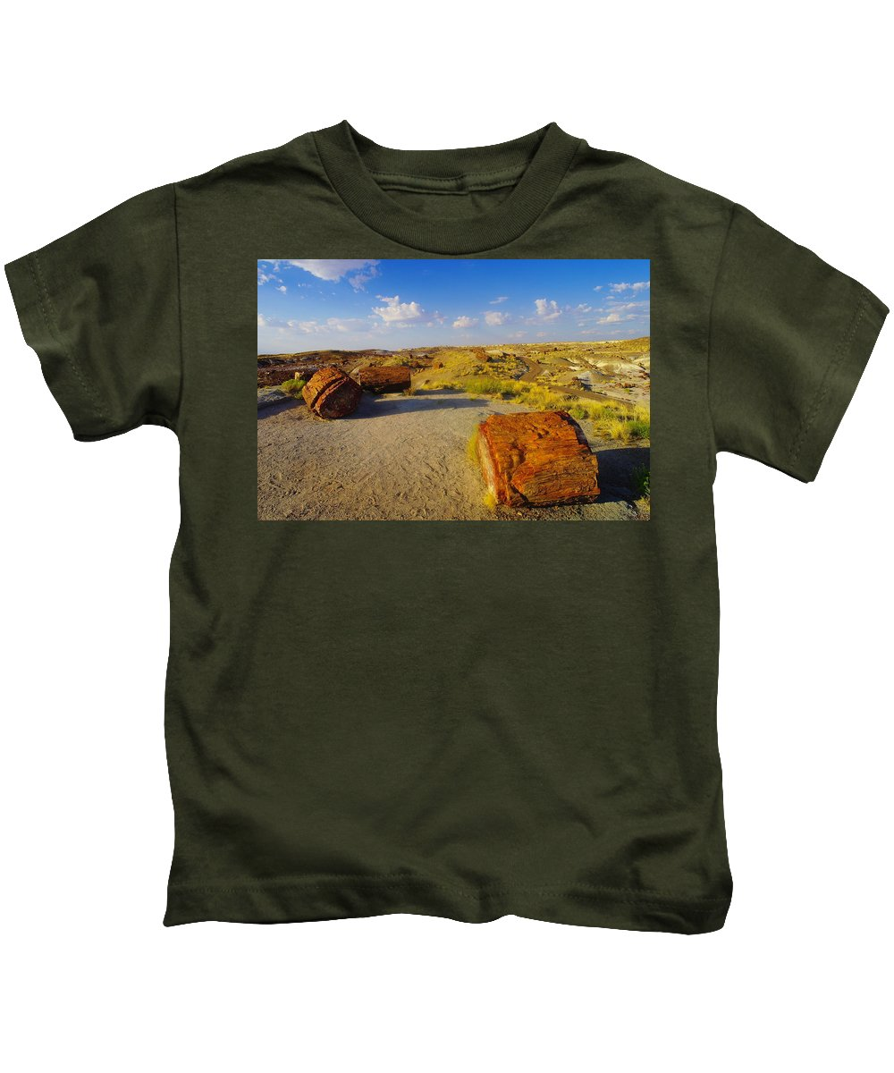 Rocks Kids T-Shirt featuring the photograph The Painted Desert by Jeff Swan