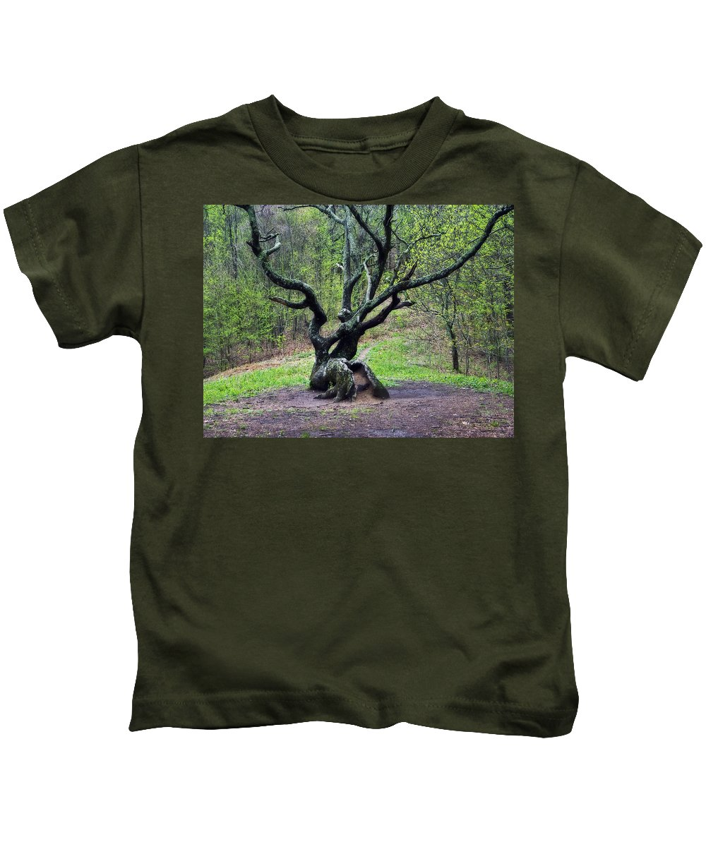 Tree Kids T-Shirt featuring the photograph Tree In The Forest by Susan Leggett