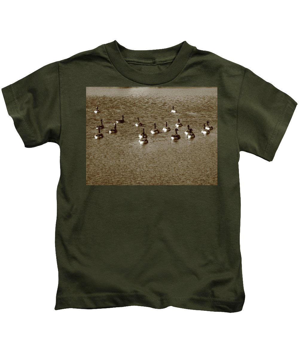Animals Kids T-Shirt featuring the photograph Wild Birds And Pond by Frank Romeo