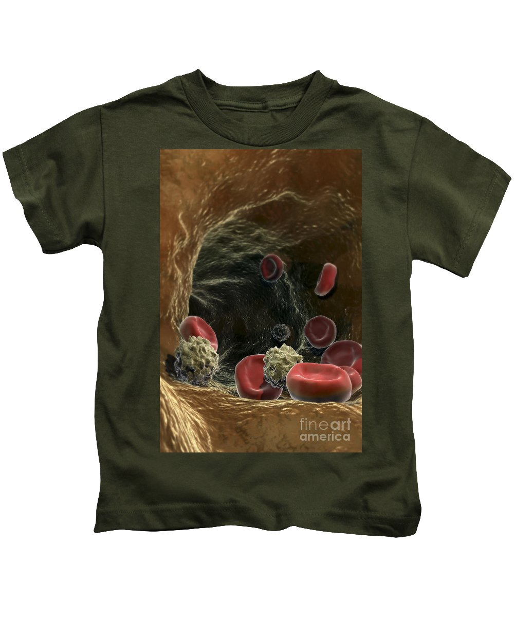 Circulation Kids T-Shirt featuring the photograph Blood Cells by Science Picture Co