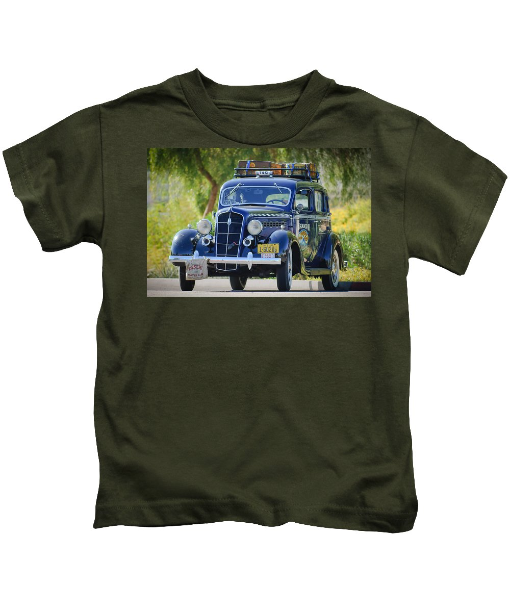 1935 Plymouth Taxi Cab Kids T-Shirt featuring the photograph 1935 Plymouth Taxi Cab by Jill Reger