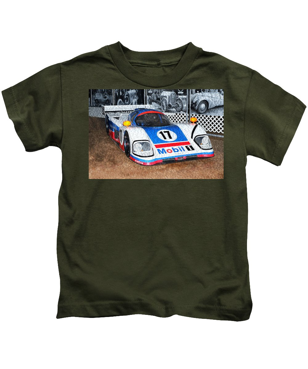 1989 Aston Martin Amr1/4 Kids T-Shirt featuring the painting 1989 Aston Martin Amr1/4 by Boris Mordukhayev