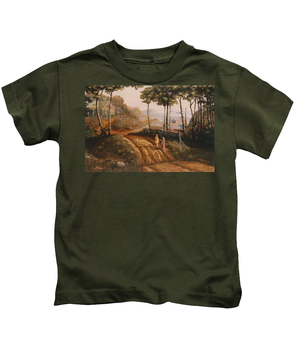 Country Kids T-Shirt featuring the painting A Country Lane by Duane R Probus
