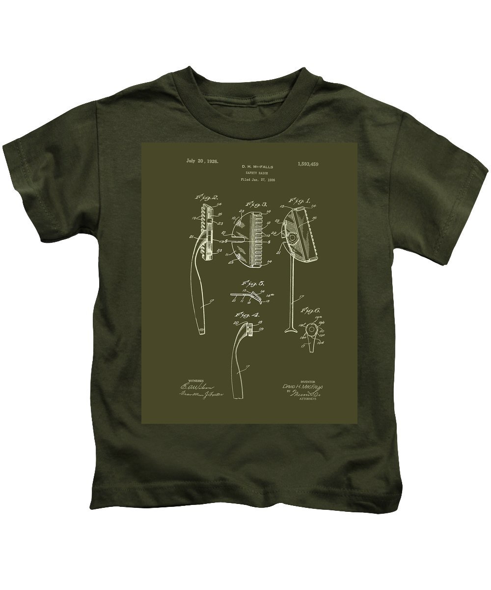 Patent Kids T-Shirt featuring the drawing Antique Safety Razor Patent 1926 by Mountain Dreams