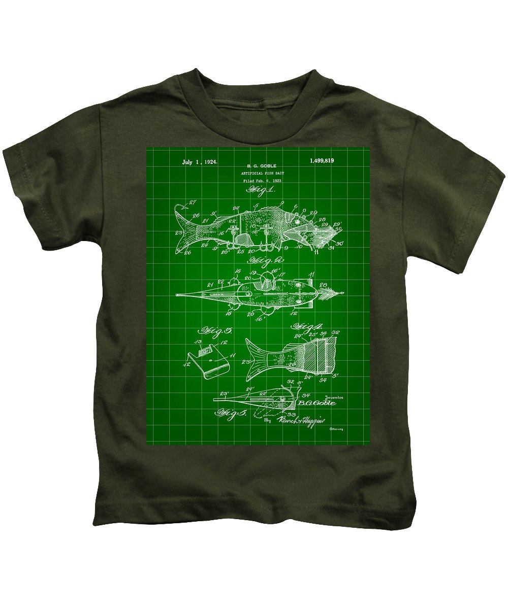 Fish Kids T-Shirt featuring the digital art Artificial Bait Patent 1923 - Green by Stephen Younts