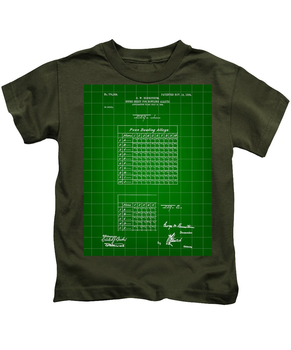 Patent Kids T-Shirt featuring the digital art Bowling Score Sheet Patent 1904 - Green by Stephen Younts