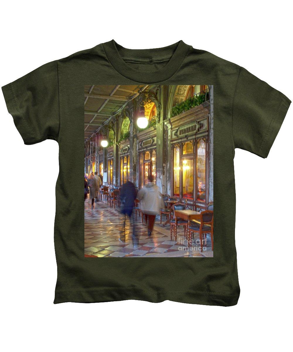 Venice Kids T-Shirt featuring the photograph Caffe Florian Arcade by Heiko Koehrer-Wagner