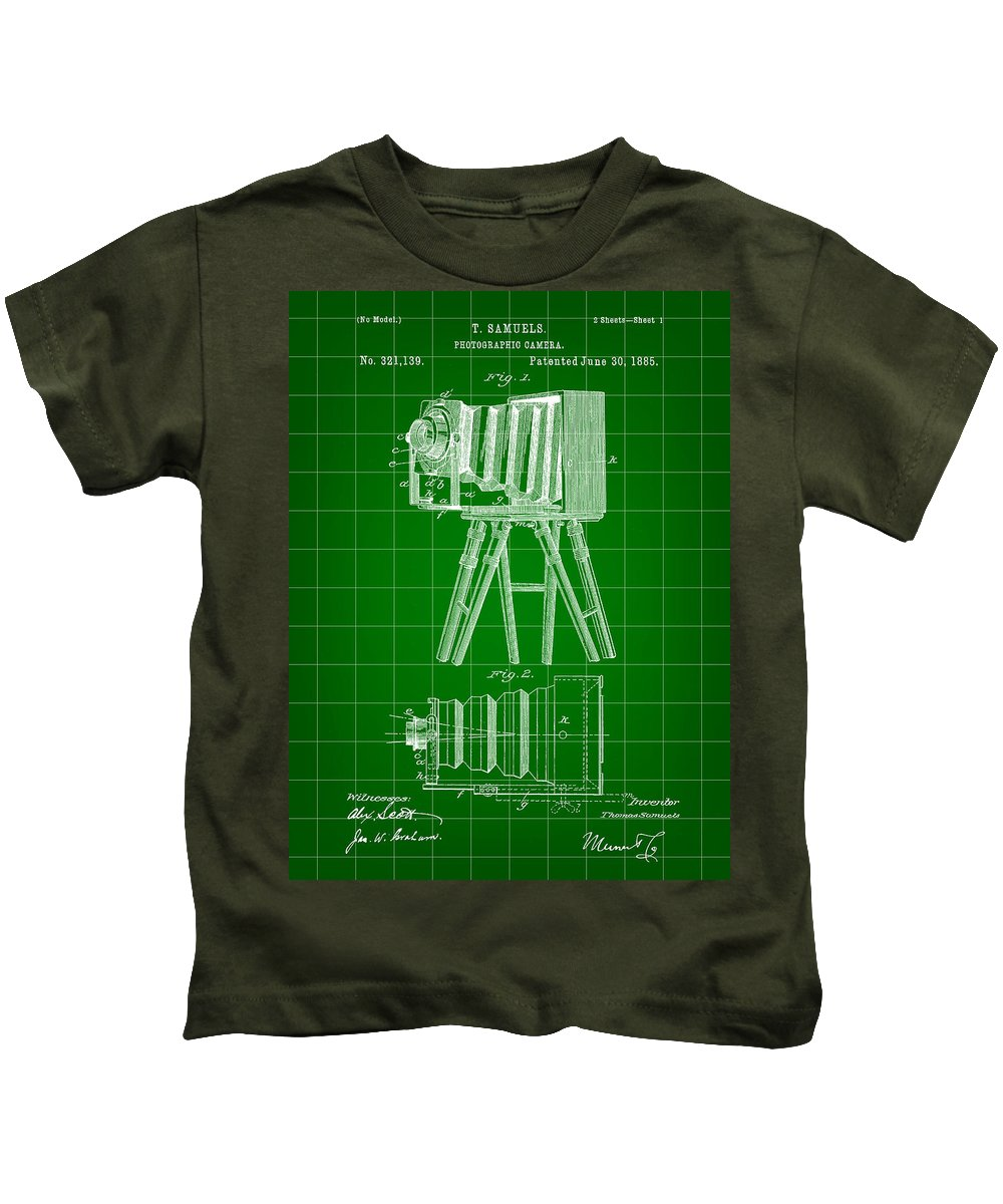 Camera Kids T-Shirt featuring the digital art Camera Patent 1885 - Green by Stephen Younts