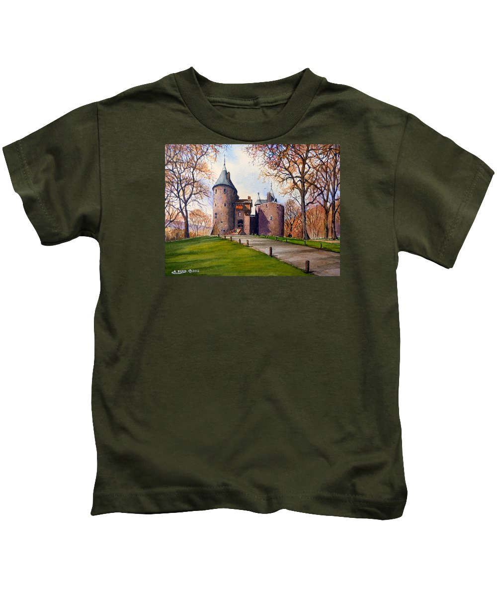Castell Coch Kids T-Shirt featuring the painting Castell Coch by Andrew Read