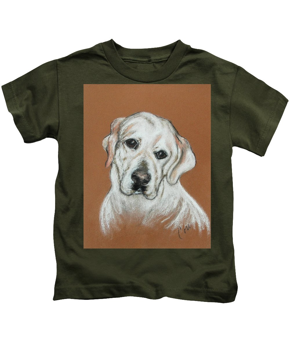 Labrador Kids T-Shirt featuring the drawing Chloe by Cori Solomon