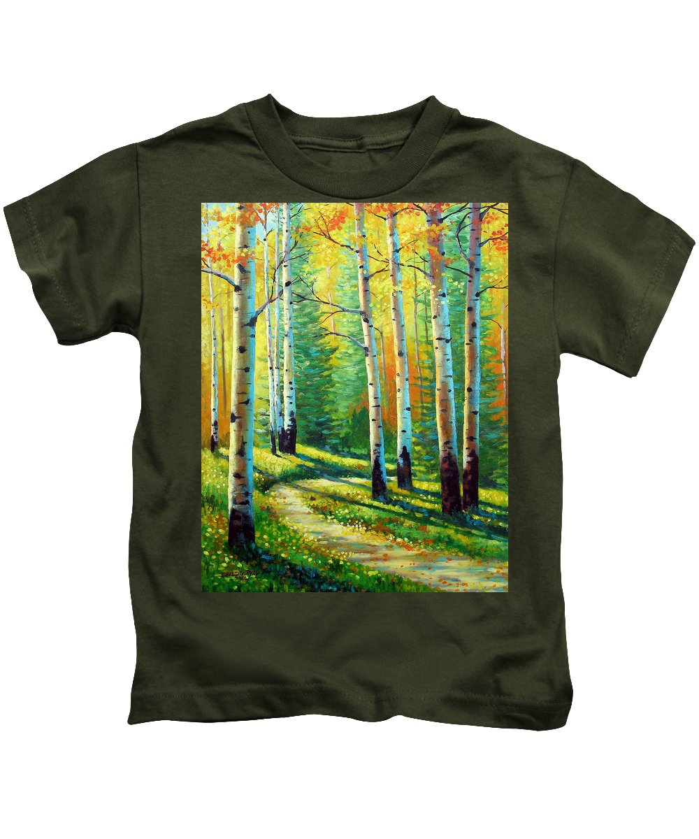 Landscape Kids T-Shirt featuring the painting Colors Of The Season by David G Paul