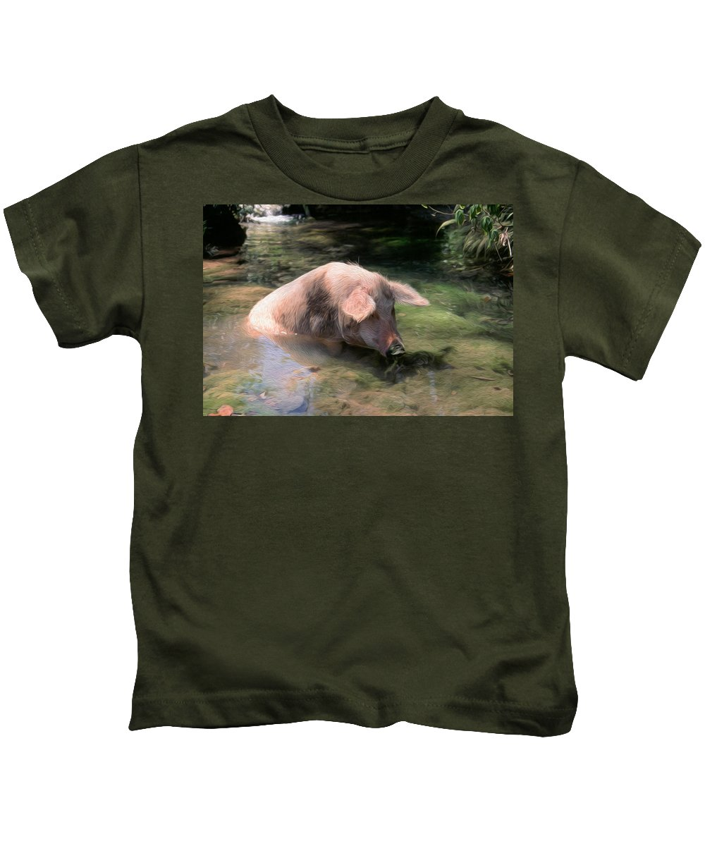 Agricultural Kids T-Shirt featuring the digital art Keeping Cool by Roy Pedersen