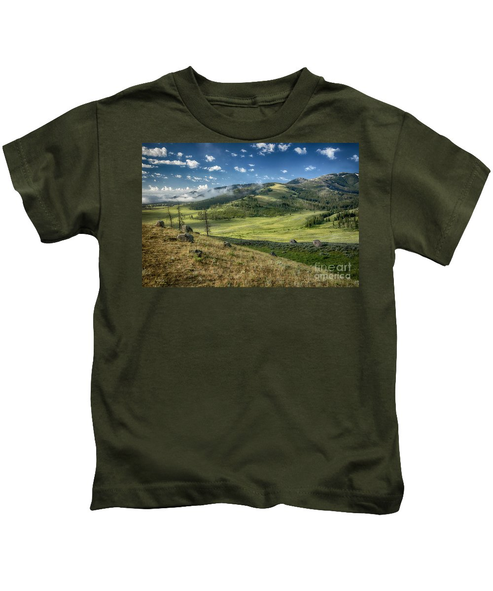 Yellowstone Kids T-Shirt featuring the photograph Down In The Valley by Claudia Kuhn