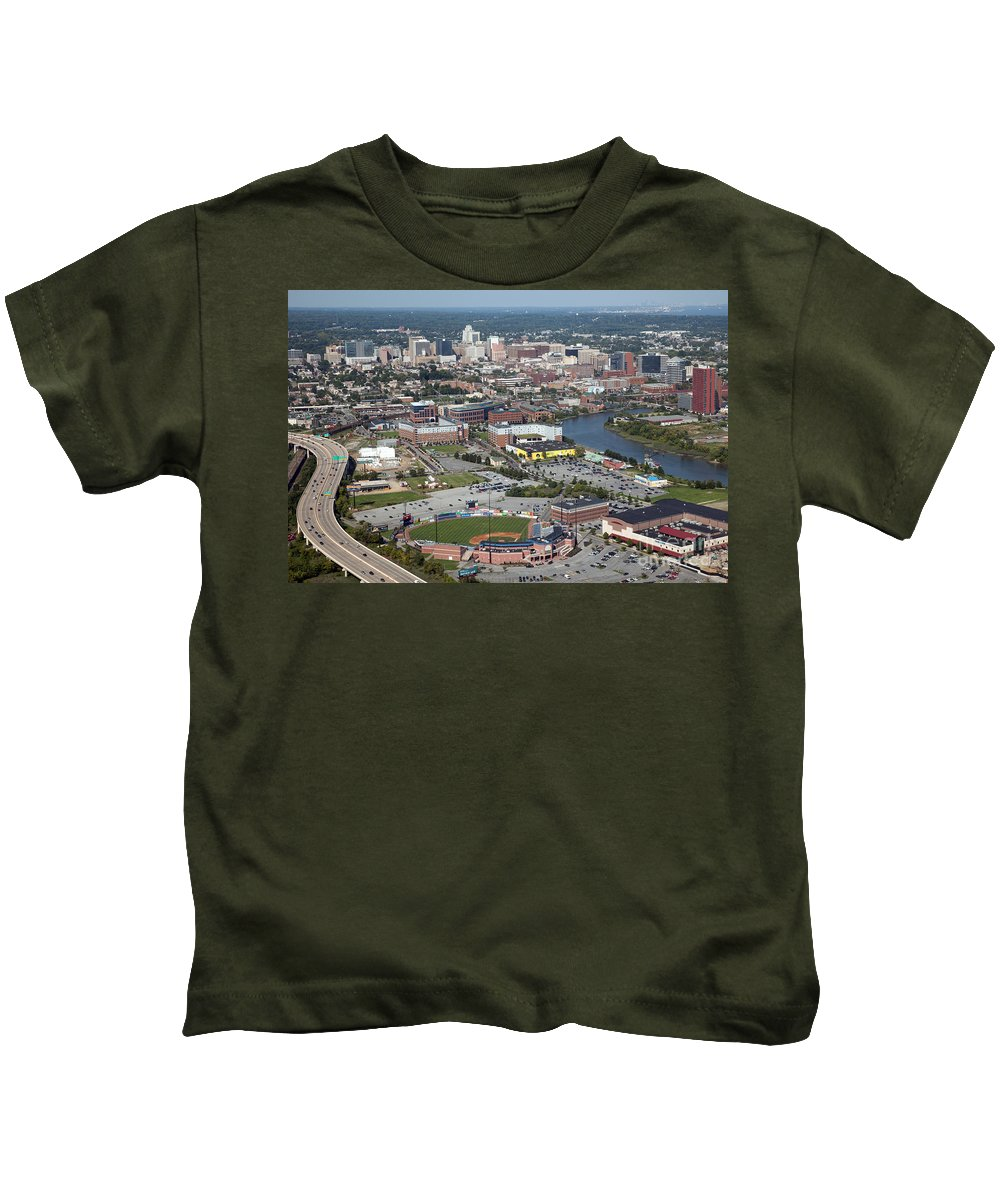 Aerial Kids T-Shirt featuring the photograph Downtown Skyline Of Wilmington by Bill Cobb