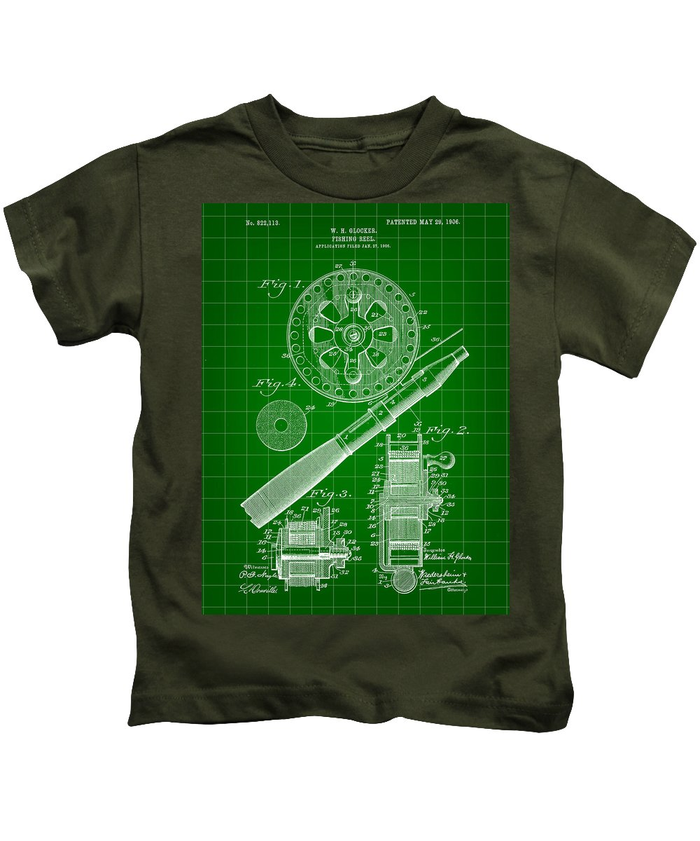 Patent Kids T-Shirt featuring the digital art Fishing Reel Patent 1906 - Green by Stephen Younts