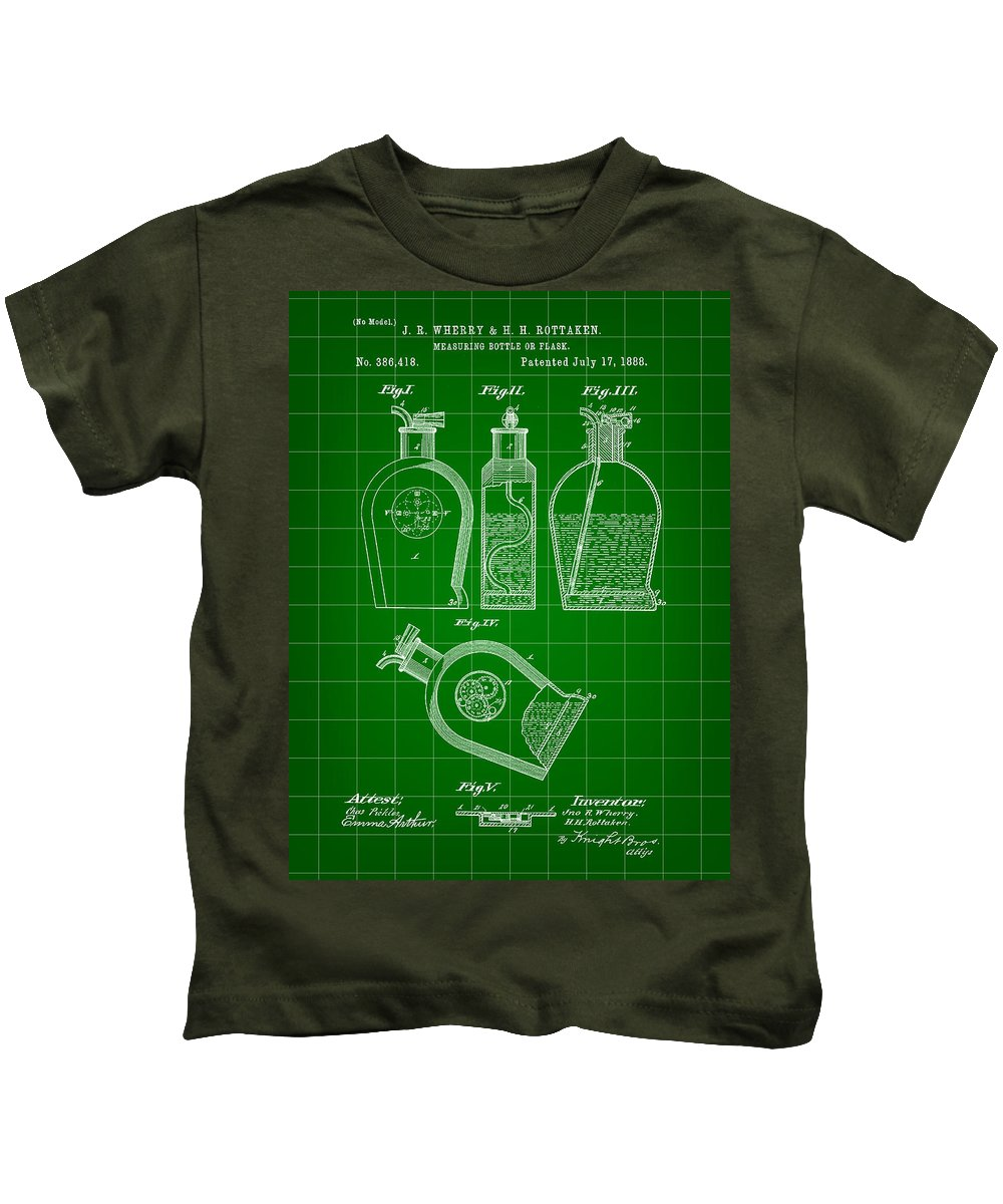 Flask Kids T-Shirt featuring the digital art Flask Patent 1888 - Green by Stephen Younts