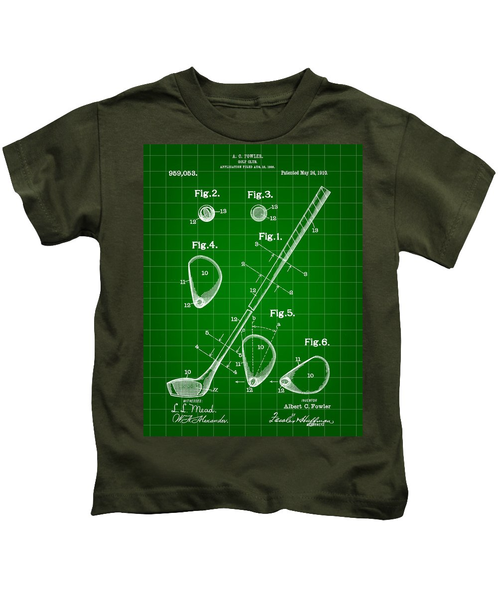 Golf Kids T-Shirt featuring the digital art Golf Club Patent 1909 - Green by Stephen Younts