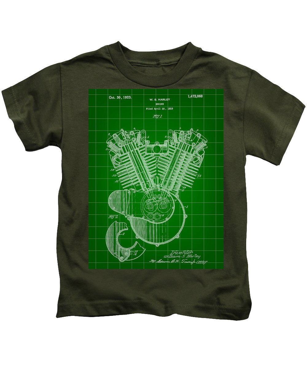Harley Davidson Kids T-Shirt featuring the digital art Harley Davidson Engine Patent 1919 - Green by Stephen Younts