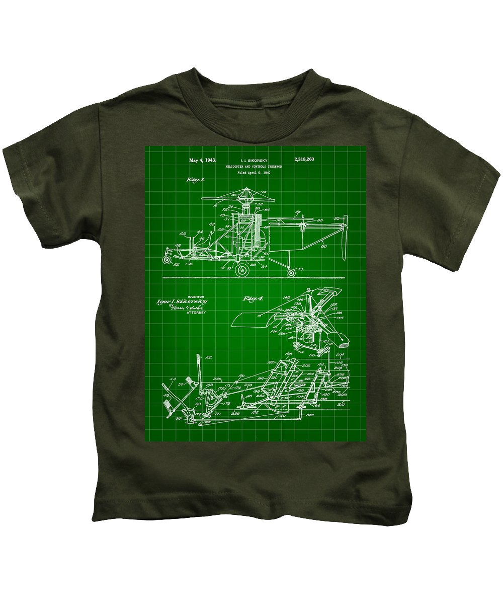 Helicopter Kids T-Shirt featuring the digital art Helicopter Patent 1940 - Green by Stephen Younts