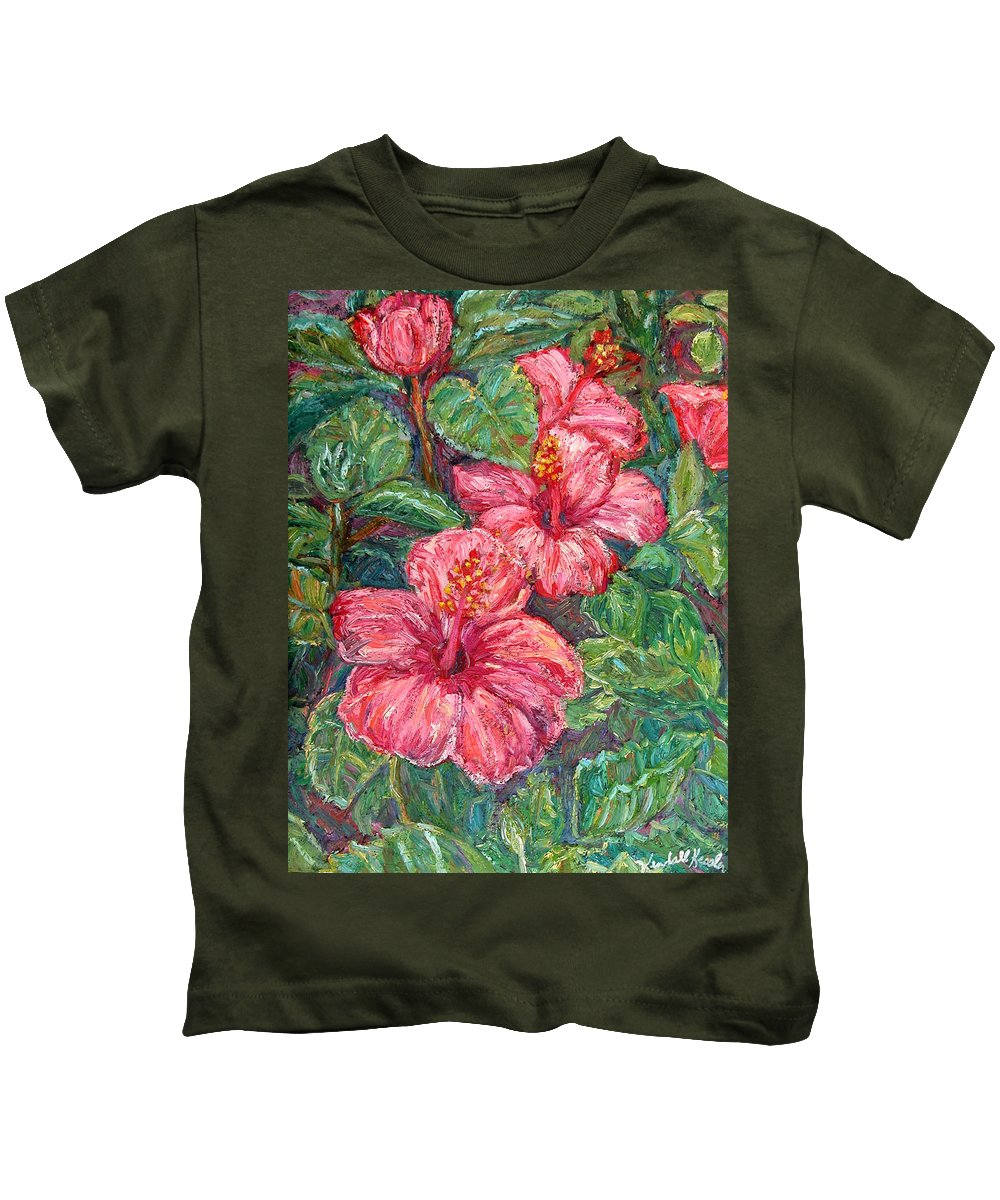 Hibiscus Kids T-Shirt featuring the painting Hibiscus by Kendall Kessler