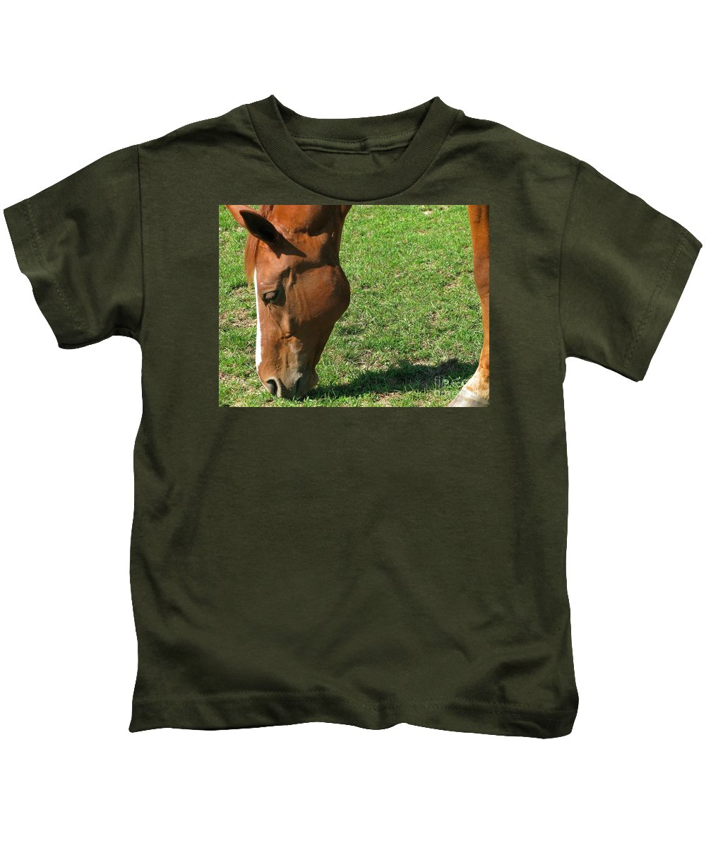 Horse Kids T-Shirt featuring the photograph In Green Pasture by Ann Horn
