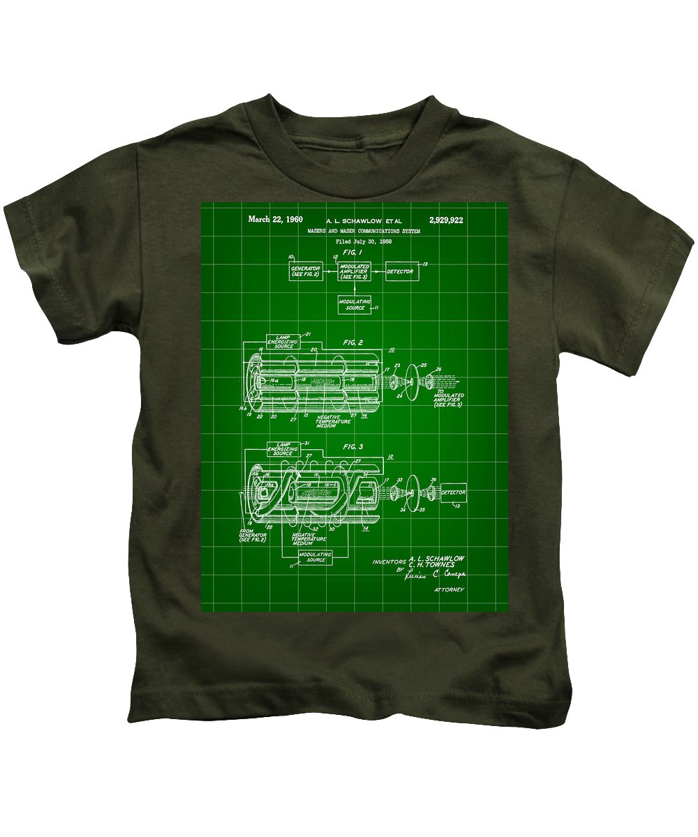 Light Amplification By Stimulated Emission Of Radiation Kids T-Shirt featuring the digital art Laser Patent 1958 - Green by Stephen Younts