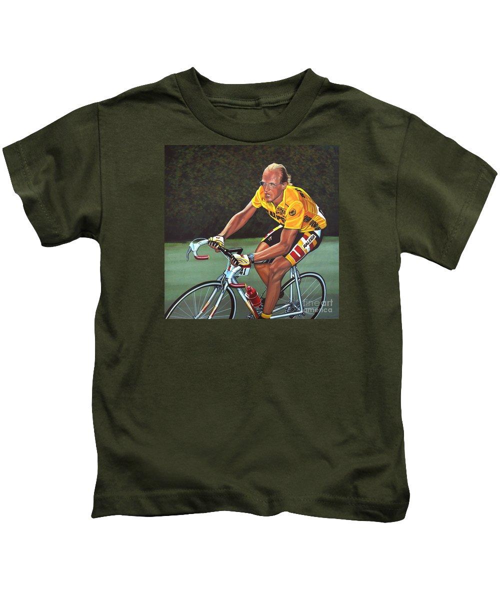 Laurent Fignon Kids T-Shirt featuring the painting Laurent Fignon by Paul Meijering