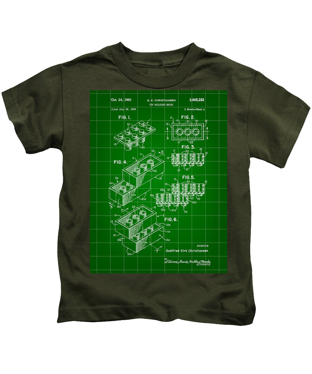 Lego Kids T-Shirt featuring the digital art Lego Patent 1958 - Green by Stephen Younts