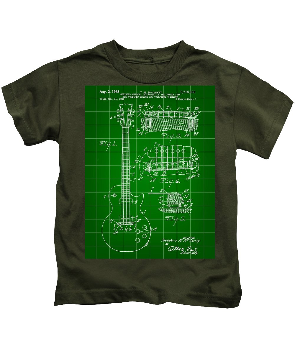 Les Paul Kids T-Shirt featuring the digital art Les Paul Guitar Patent 1953 - Green by Stephen Younts