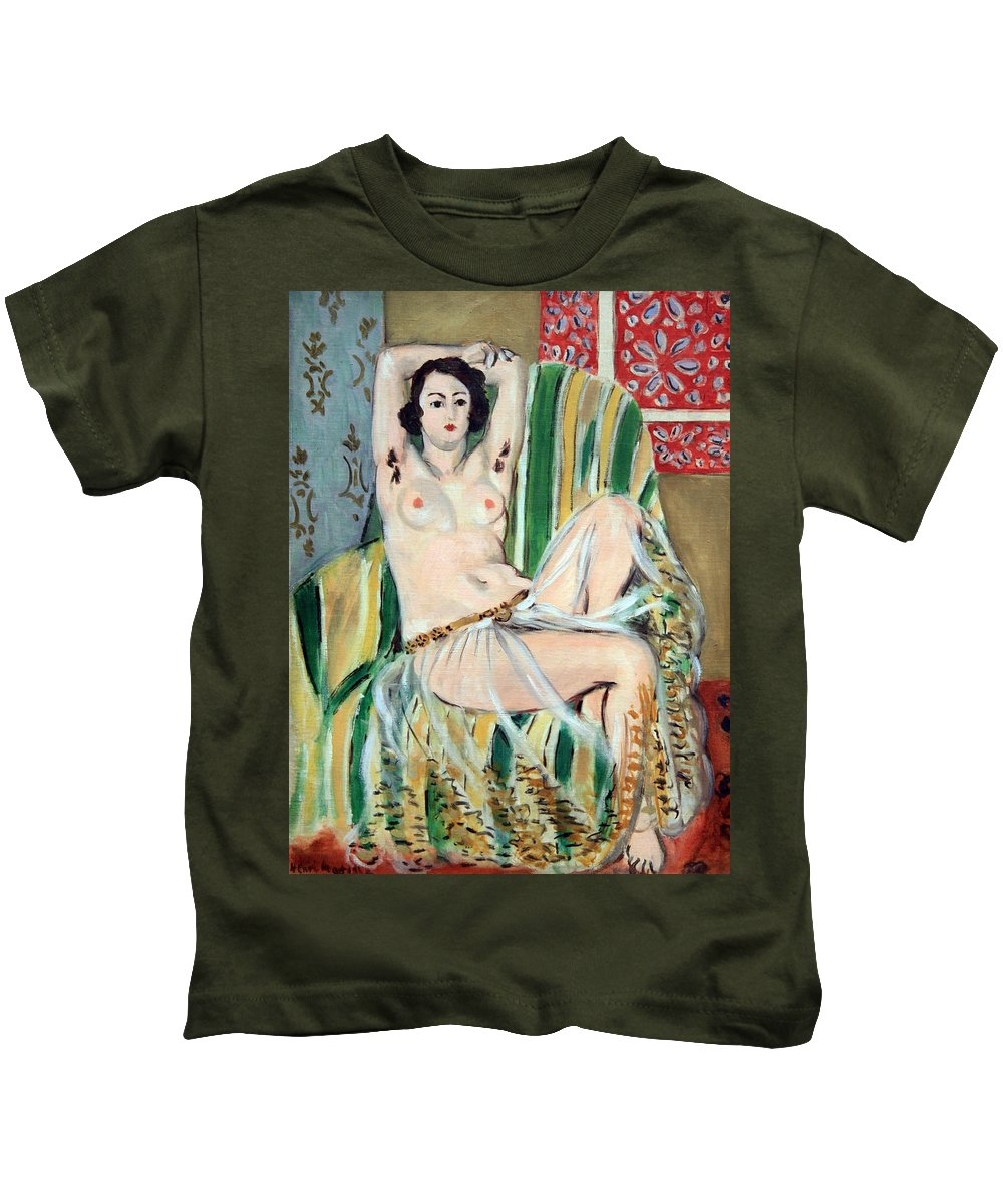 Odalisque Seated With Arms Raised In Green Striped Chair. Henri Matisse Kids T-Shirt featuring the photograph Matisse's Odalisque Seated With Arms Raised In Green Striped Chair by Cora Wandel
